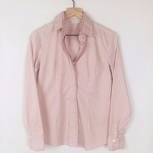 New York and Company striped ruffle button down
